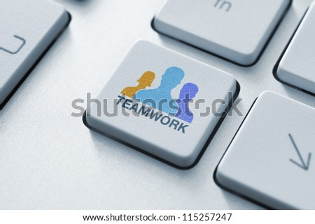 Teamwork key on keyboard concept. Toned image. - stock photo
