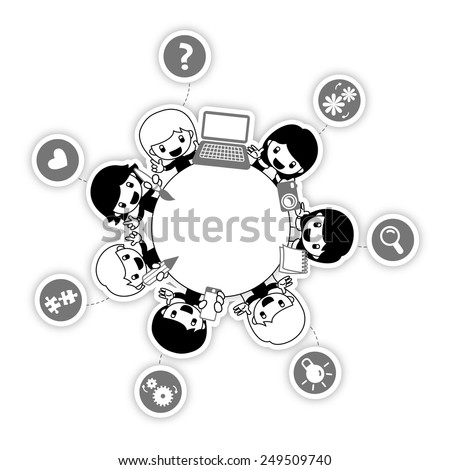 Teamwork. People around round table. Team members with various skills. The skills and the area of the contribution of each member are represented as icons.