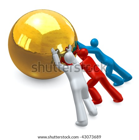 Teamwork -  people  working together,  pushing a  golden target ball