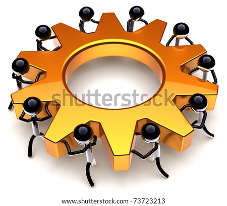 Teamwork process. Business efficiency progress result. Success of workers team concept. Stylized black peoples turning together an golden gear wheel. Detailed render 3D. Isolated on white background