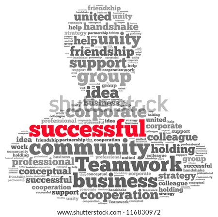 Teamwork successful info-text graphics and arrangement concept on white background (word cloud)