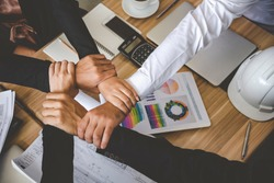 Teamwork Together Concept. Group of diversity people thumb up team success greeting power of tag team. Multiethnic people group working togetherness. Volunteer collaboration in Business Team success