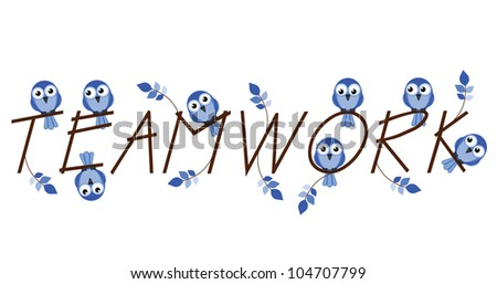 Teamwork twig text isolated on white background