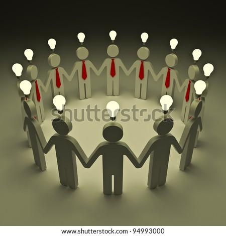 Teamwork with idea light bulbs - stock photo