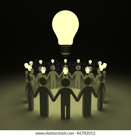 Teamwork with idea light bulbs above their heads