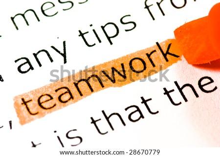 teamwork word closeup
