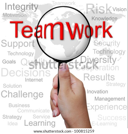 Teamwork, word in Magnifying glass ,business background