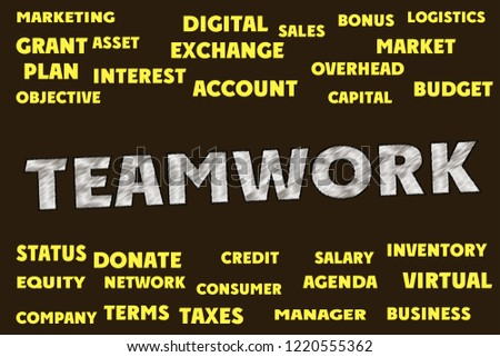TEAMWORK Words and tags cloud #1220555362