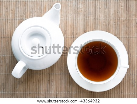 teapot and cup on a wooden tray. top view