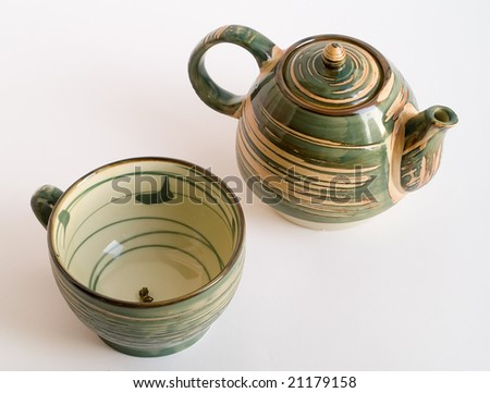 Teapot and empty cup