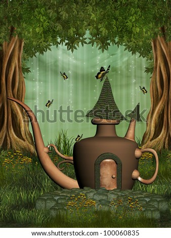 teapot fairy house in the forest with butterfly