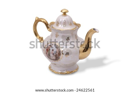 Teapot from German famous porcelain tea service (Madonna). East Germany.