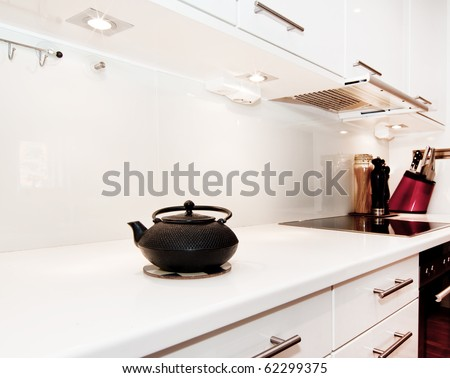 teapot in white kitchen, kitchen design