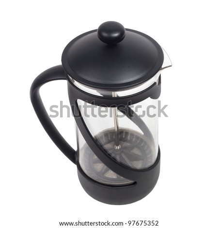 teapot kettle glass tea shiny plastics isolated (clipping path)