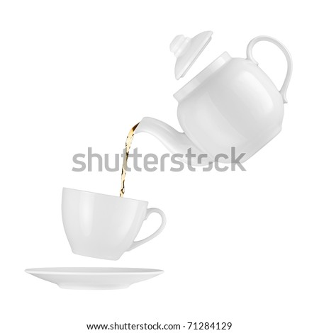 Teapot pouring tea into a cup