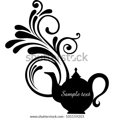 Teapot silhouette isolated on White background. Restaurant menu or Invitation. illustration