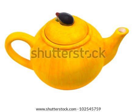 teapot tea ceramic kettle yellow isolated (clipping path)