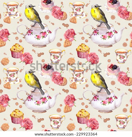 Teapot, tea cup, cakes, rose flowers and bird. Repeating tea party background. Watercolour