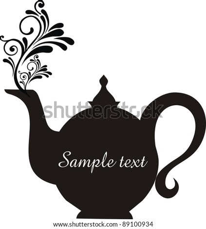 Teapot with floral design elements.Teapot silhouette isolated on White background. Restaurant menu or Invitation.  illustration - stock photo