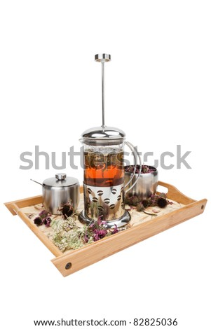 teapot with herbal tea, cup and sugar bowl on  tray