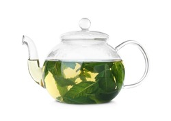 Teapot with hot aromatic mint tea isolated on white