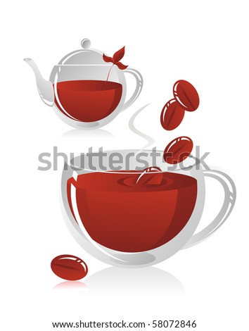 Teapot with tea and a mug from coffee