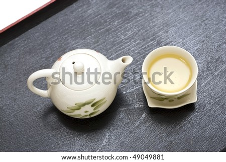 Teapot with tea cup in a black Trays - Tea time