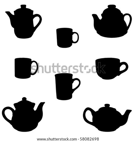 teapots and cups silhouettes isolated on white