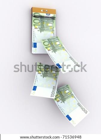 tear-off calendar consisting of euro banknotes - stock photo