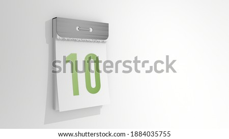 Tear-off calendar with number 10. Stylish 3D rendering of the tenth date. 3d illustration on white background day ten. Stock photo ©