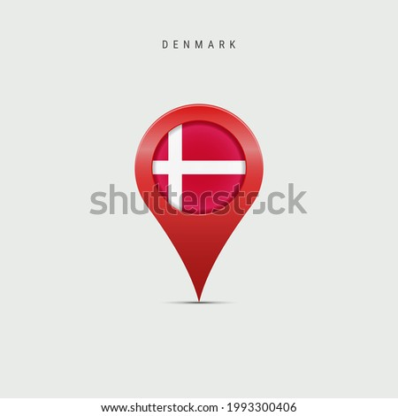 Teardrop map marker with flag of Denmark. Danish flag inserted in the location map pin. illustration isolated on light grey background. Сток-фото ©