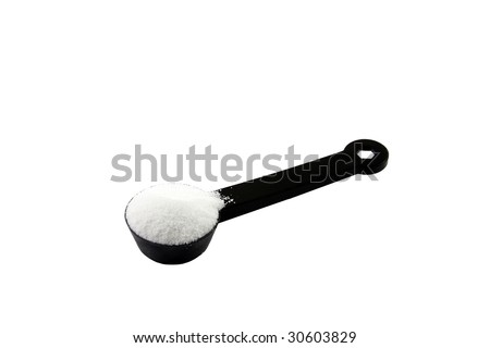 stock photo : teaspoon or tablespoon of sugar