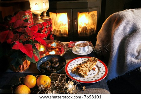 Teatime place in winter with fire and food