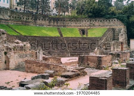 Teatro Romano Roman Theatre, an Ancient Amphitheatre in Trieste, Friuli Venezia Giulia Italy Foto stock ©