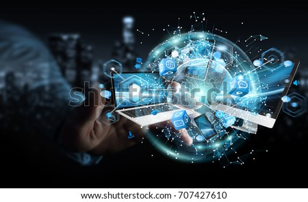 Tech devices connected to each other by businessman on blurred background 3D rendering #707427610