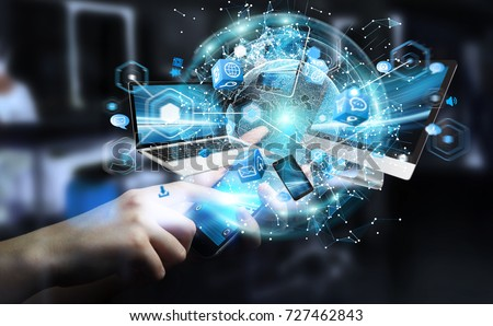 Tech devices connected to each other by businessman on blurred background 3D rendering #727462843