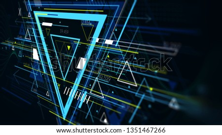 Tech futuristic abstract backgrounds, colorful triangle, monitor screen in perspective for presentations