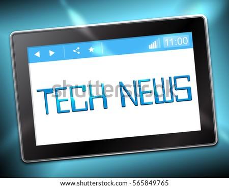 Tech News Tablet Shows Information Technology 3d Illustration