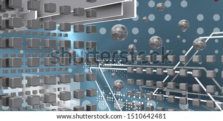 Tech space with spheres and spheres