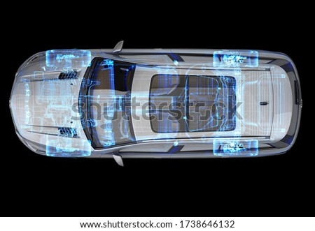 Technical 3d illustration of a generic SUV car with x-ray effect. Top view on black background. Foto stock ©