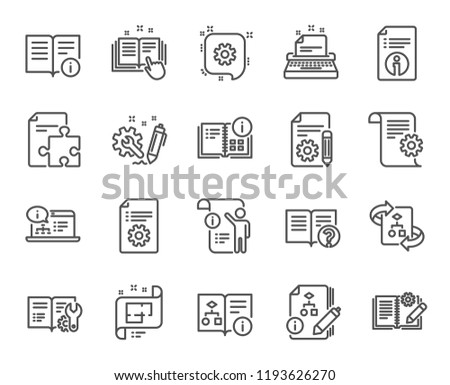 Technical Documentation line icons. Set of Instruction, Plan and Manual linear icons. Help documents, Building plan and Algorithm symbols. Technical blueprint, Engineering and Work tool signs.