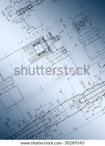 Technical drawing as background.