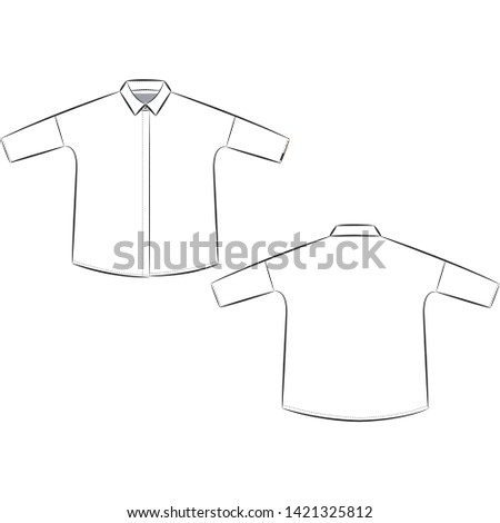 Technical Drawing for Blouse and shirt.Textile collection.Spring summer collection idea.Portfolio inspiration.