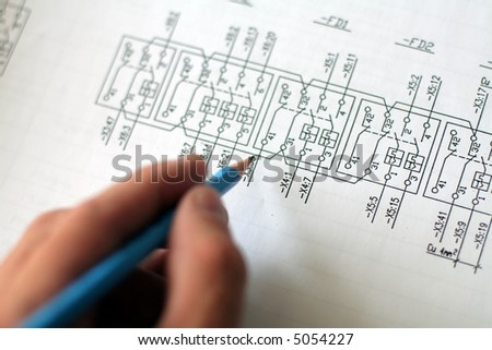 Technical drawing, very detailed with shemes for power plant