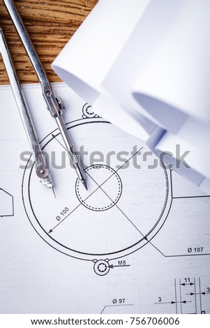 Technical drawings. Design drawings. Project by pencil on paper. Drawing detail and drawing tools #756706006