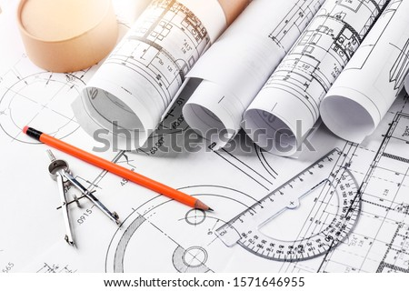 Technical drawings with measure tools. Pencil, measurement. Papers with technical drawings and diagrams on the table.C Сток-фото ©