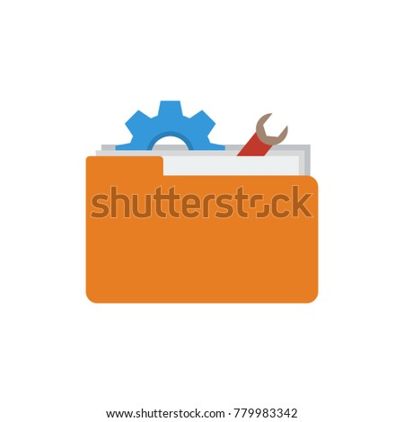 Technical project icon flat symbol. Isolated  illustration of toolkit sign concept for your web site mobile app logo UI design.
