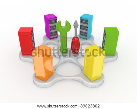Technical support concept.Isolated on white background.3d rendered.