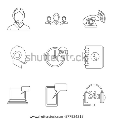 Technical support icons set. Outline illustration of 9 technical support  icons for web