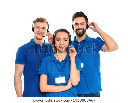 Technical support operators with headsets isolated on white